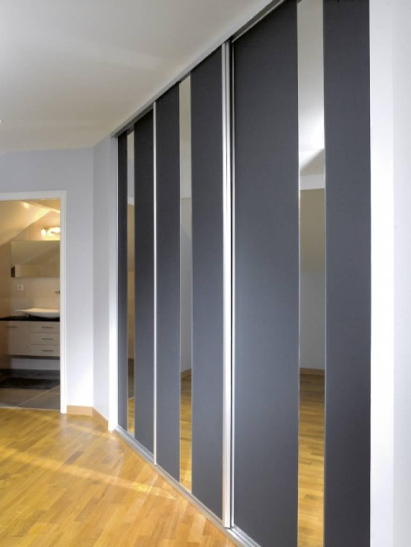 Placard À Portes Coulissantes façade de portes coulissantes en verre laqué et miroir