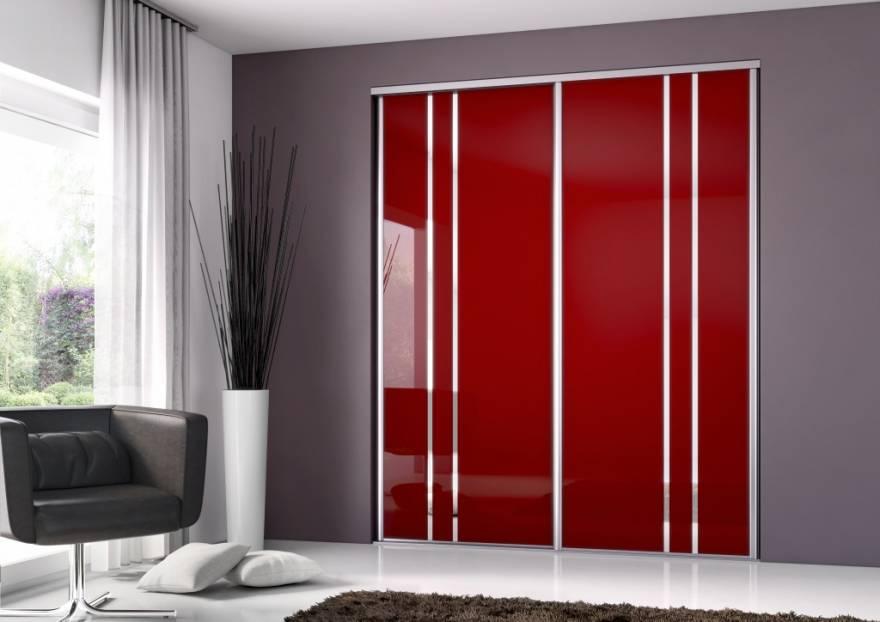 Fa ade en verre laqu rouge et miroir argent rangement for Decoration sur verre et miroir