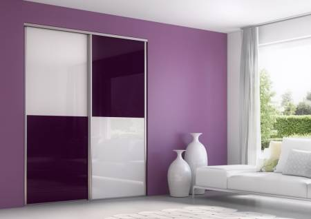 portes de placard coulissantes en verre laqu blanc et prune sur mesure eguilles vente de. Black Bedroom Furniture Sets. Home Design Ideas